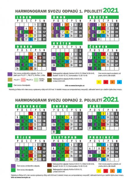 Harmonogram svozu komunálního odpadu v roce 2021